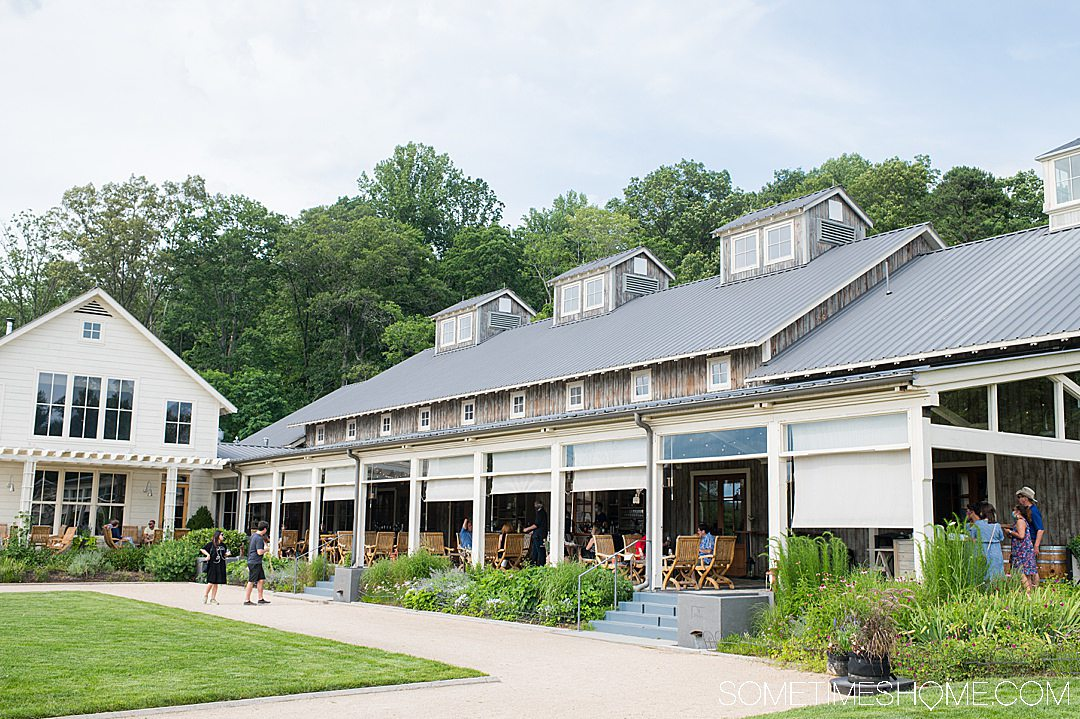 A farm house with a veranda at a winery in Charlottesville, Virginia.